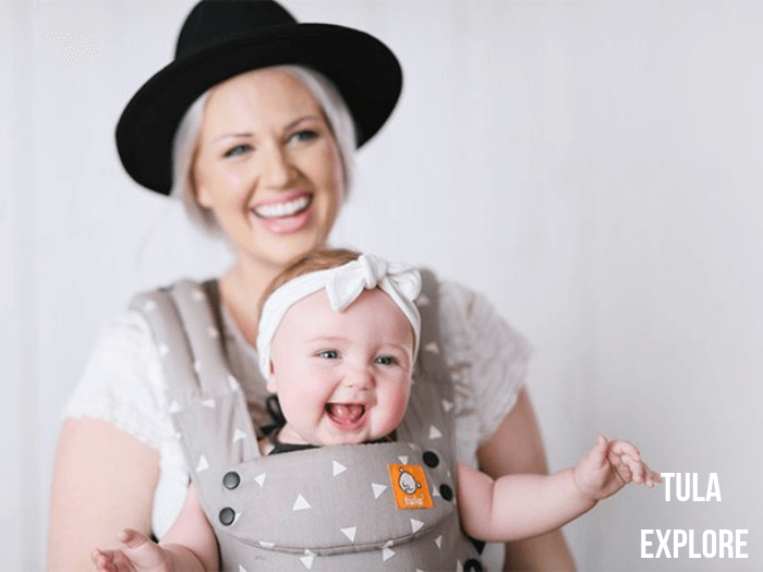 Mum and daughter using the Tula Explore baby carrier