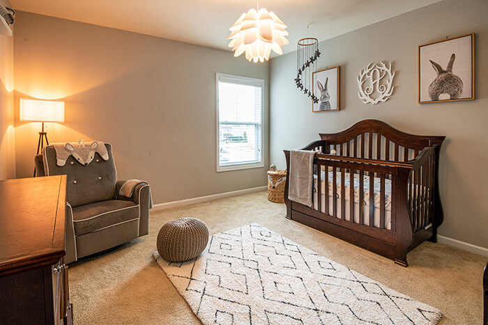 Nursery with wooden cot